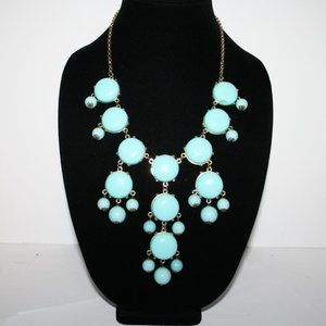 Turquoise and gold statement necklace adjustable